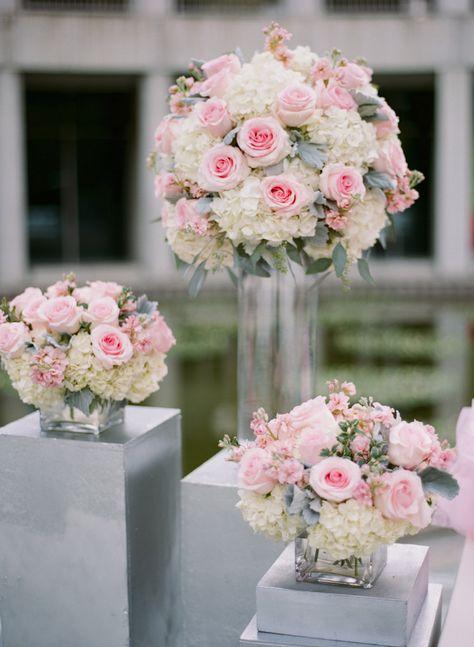 Pink Rose White Hydrangea and Dusty Miller Arrangements | photography by http://sarahkchen.net/