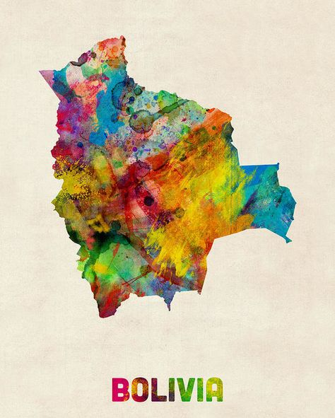Bolivia Watercolor Map Poster by Michael Tompsett. All posters are professionally printed, packaged, and shipped within 3 - 4 business days. Choose from multiple sizes and hundreds of frame and mat options.