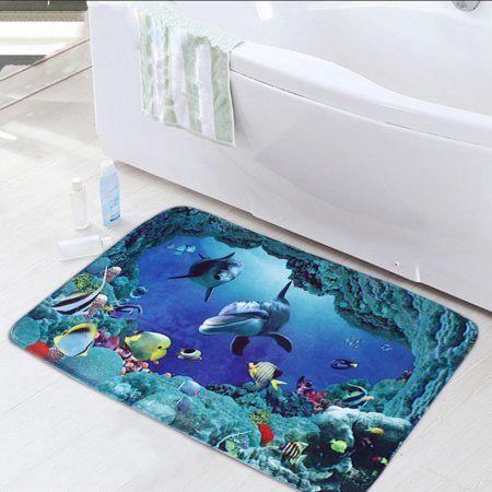 3pcs Set Large Waterproof Soft Bathroom Non Slip Blue Sea Ocean
