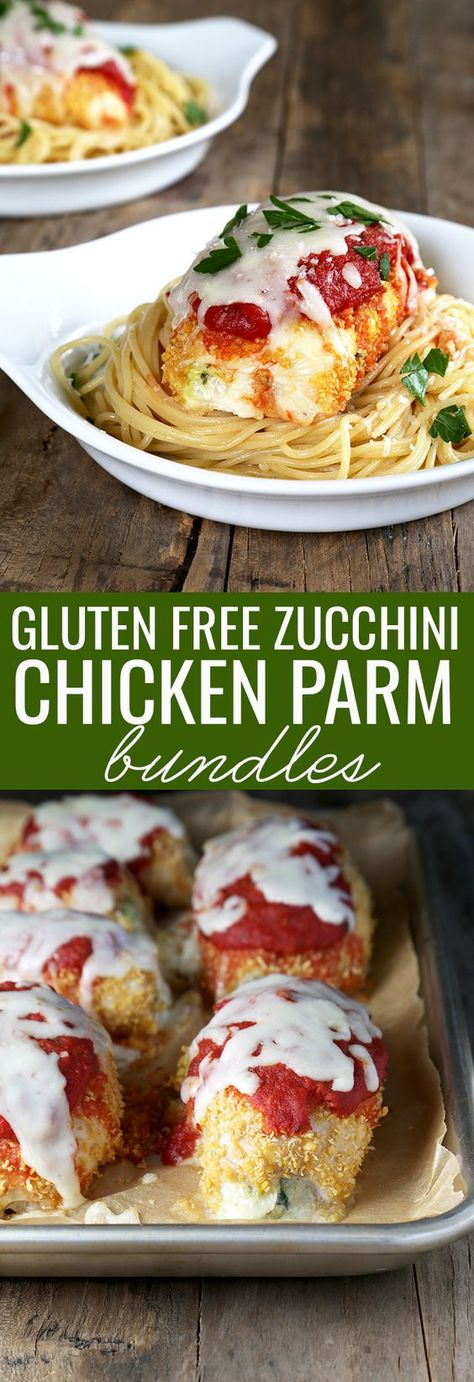 Easy gluten free zucchini chicken parmesan bundles are meat and veg in one—and…