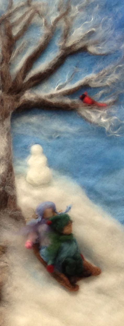 wool painting waldorf art wall decor wool art wool picture needle felted picture Boats on the creek