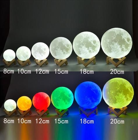 Hot 8 20cm Diameter 3d Print Moon Lamp Usb Led Light Touch Sensor Color Changing Lamp Party Wedding Pin Color Changing Lamp Color Changing Lights Night Light