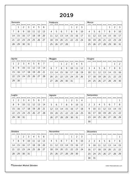 Calendario Annuale Da Stampare 2019.Calendario 2019 36ld 2019 Calendario Stampe E Stampabili