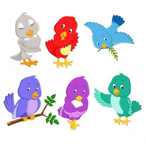 Bird Cartoon Set Collection Cartoon Bird Drawing Cartoon Birds Pretty Birds