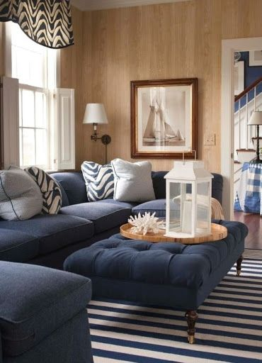 Navy Blue White Striped Area Rugs Shop The Look Of These Interior Designs Blue Couch Living Room Coastal Decorating Living Room Blue Sofas Living Room