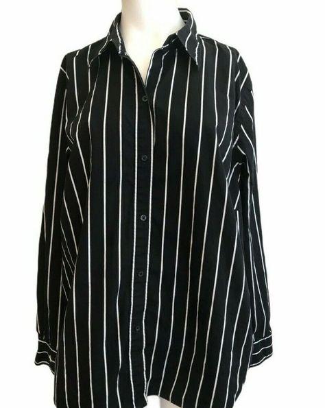 Lauren Ralph Lauren 1X Blouse Black White Striped  #LaurenRalphLauren #Blouse #Work