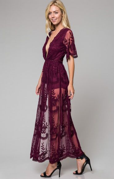 85ae90edaa9a2 Get swept off your feet in this boho-gypsy maxi dress by Honey Punch. In  stunning sheer dusty blue lace, this maxi dress has a plunging neckline and  short ...