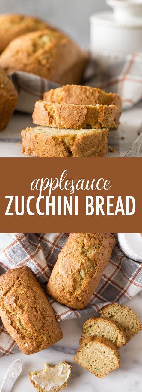 This Applesauce Zucchini Bread is perfectly moist and not too sweet. A wonderfully delicious way to use up extra zucchini! #applesaucezucchinibread #zucchinibread #zucchini #applesauce #homemadebread #breakfast #snack #bread