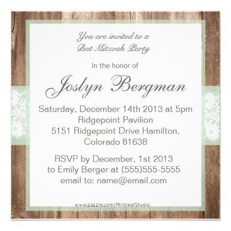Vintage Wood Shabby Chic Bat Mitzvah Invitation Invitations