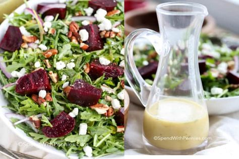 Roasted beet and goat cheese salad is an easy and delicious recipe. Made with beets, goat cheese,toasted walnuts, and arugula, it is topped with a homemade tangy vinaigrette that perfectly balances the flavors. #spendwithpennies #beetsalad #roastedbeets #withgoatcheese #salad #sidedish #maincourse