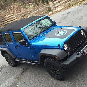 Matte Black Jeep Wrangler Military Star Hood Blackout Kit Jeep - Jeep hood decalsmatte black jeep hood decal