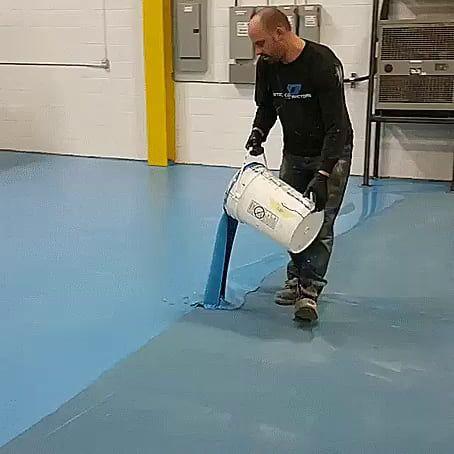 Applying Epoxy Coating To A Factory Floor Factory Floor Aperture Science Flooring