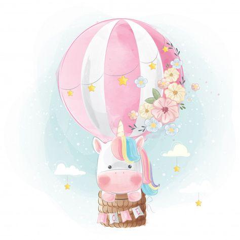 Rainbow unicorn flying with balloon Vector | Premium Download
