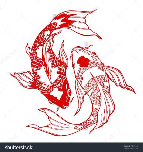 Illustration koi carp coloring page yin stock vector (royalty free) 35717 . - Illustration koi carp coloring page yin stock vector (royalty free) 357172847 – glass garden – - Koi Fish Drawing, Fish Drawings, Tattoo Drawings, Tattoo Sketches, Art Drawings, Sketch Style Tattoos, Leg Tattoos, Body Art Tattoos, Sleeve Tattoos