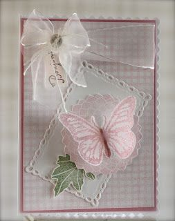 handmade card from From Anne-Elise: Pink vellum butterfly ... luv how butterflies look when embossed on vellum ...