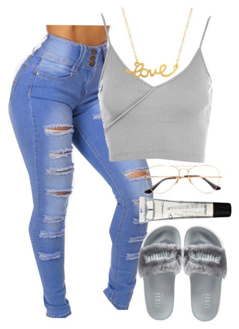 """"""""""" by theyloverin ❤ liked on Polyvore featuring Topshop, Puma, Ray-Ban, M.A.C and Minnie Grace"""
