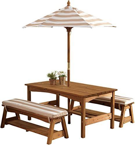 The Kidkraft 00 Outdoor Table Bench Set Cushions Umbrella
