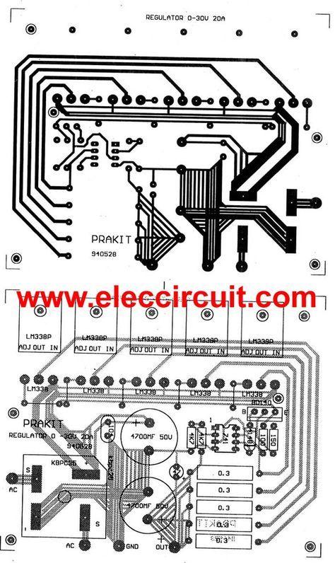 High Current Adjustable Voltage Regulator Circuit 0 30v 20a
