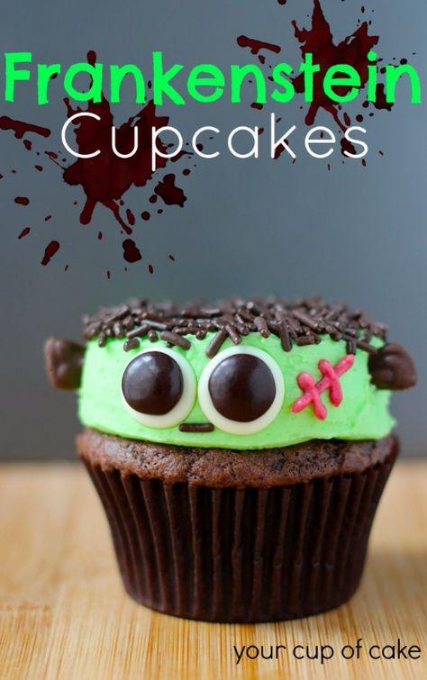 Frankenstein Cupcakes, so cute for Halloween!