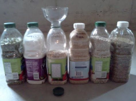 Half gallon juice bottles make great dry food storage containers. The top of a 2 liter soda pop bottle makes a great funnel for easy filling. The funnel fits perfectly in the mouth of the juice bottle.