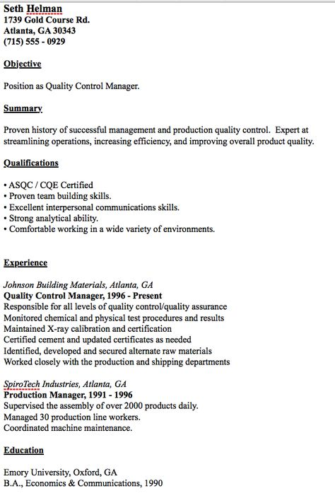Example Of Quality Control Manager Resume - http\/\/resumesdesign - resume for manager position