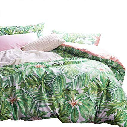 Amazon Com Wake In Cloud Botanical Duvet Cover Set Sateen Cotton Bedding Tropical Green Plant Tre Tropical Bedding Sets Tropical Bedding Green Bedding Set