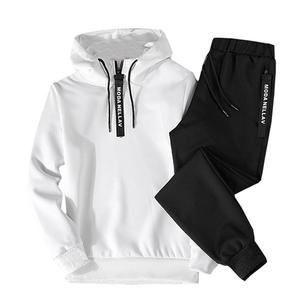 SFE New Mens Autumn Long Sleeve Round Neck Solid Tracksuits 2 Pieces Tops /& Pants Jogging Sweatsuit Sportswear