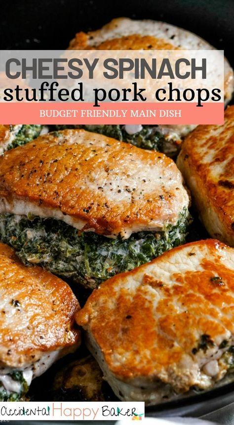 Spinach Stuffed Pork Chops - Accidental Happy Baker