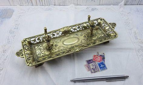 Victorian brass pen stand, Italianate pen tray, antique desk tidy, office  decor, library decor, desk storage, Victoriana, Rococo style - Victorian Brass Pen Stand, Italianate Pen Tray, Antique Desk Tidy