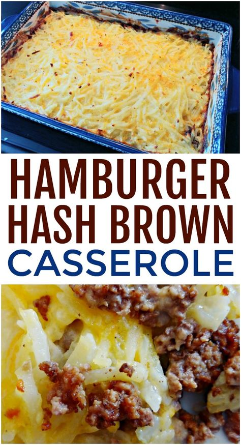 This hamburger hashbrown casserole will hit the spot. All that is required is a few simple ingredients that you probably already have on hand including hash browns, ground beef, and shredded cheese. Ground Beef Dishes, Ground Beef Recipes For Dinner, Dinner With Ground Beef, Casseroles With Ground Beef, Ground Beef Meals, Ground Beef Crockpot Recipes, Recipes Using Ground Beef, Dinner Recipes, Hashbrown Hamburger Casserole