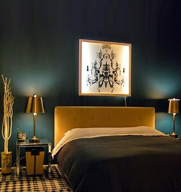 House of Turquoise: Peacock Blue Bedrooms, gold accents