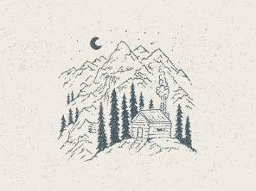 Tattoo Mountain Moon Posts 46 Best Ideas Cabin Art Cabin Tattoo Drawings