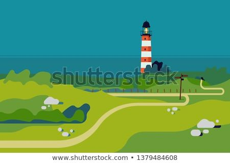 Ocean Shore With Lighthouse Landscape Background In Trendy Flat Design Green Meadows Scenery W Landscape Background Ocean Shores Outdoor Recreation Activities