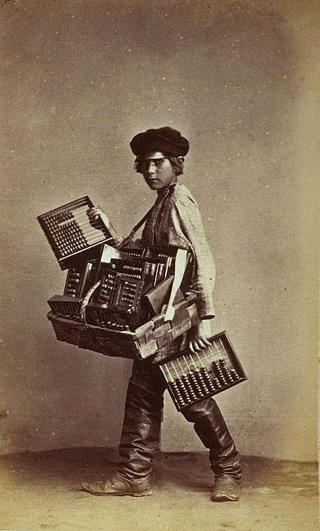 "Russian street abacus seller, from the long photo series that Scottish photographer William Carrick made of Russian peasants, mostly in the 1860s. ""It is probable that he made his series cartes de visite images of itinerant trades people as a sort of postcard to the tourist and taveling class-but what happened of course is that he recorded in great detail bits of everyday life that was in general invivible to the main sttream of people who were in the image-making class."" Great info at the…"