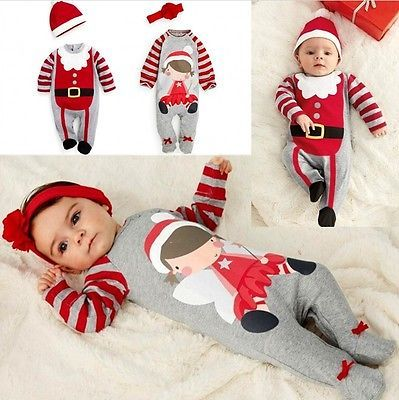9c1547189 2 Pcs Babies Kid Cute Christmas Romper+hat/headband Outfits Newborn Baby  boys Girls Xmas Santa Claus Rompers Infant Kids Clothes