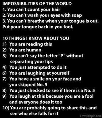 I can breath with my tongue out.. but the rest are true.. xD Do you do it too?
