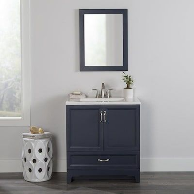 Style Selections 30 25 In Navy Single Sink Bathroom Vanity With