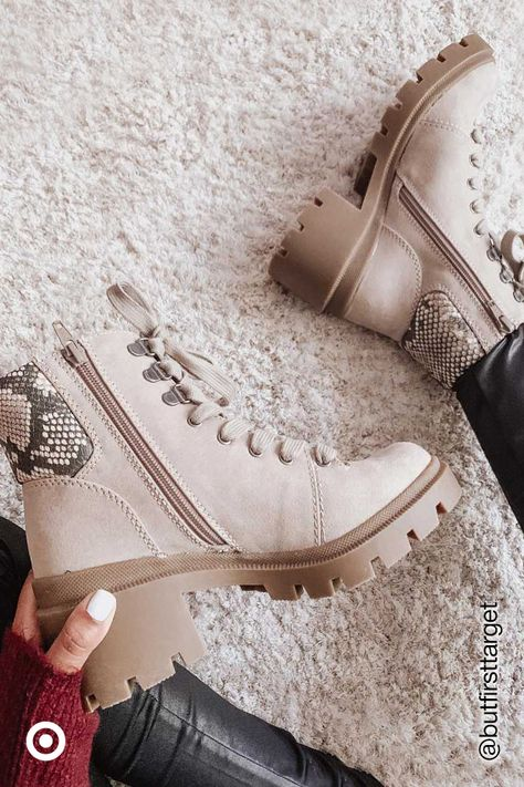 Hit the road in style with hiking boots. Style your fall or winter outfits with patterned or solid boots for a trendy, street-style look.