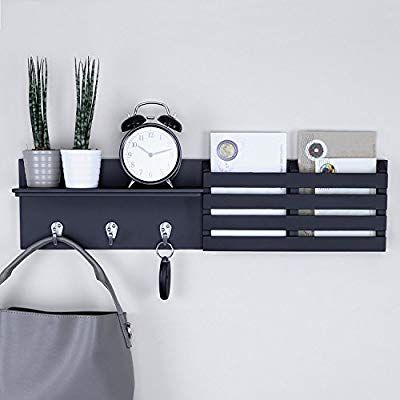 Amazon Com Ballucci Mail Holder And Coat Key Rack Wall Shelf With 3 Hooks 24 X 6 Black Home Kitchen Key Rack Mail Storage Mail Holder