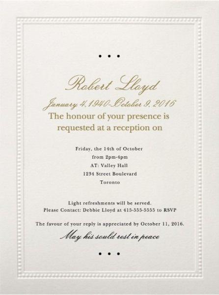 Mourning Ceremony Invitation