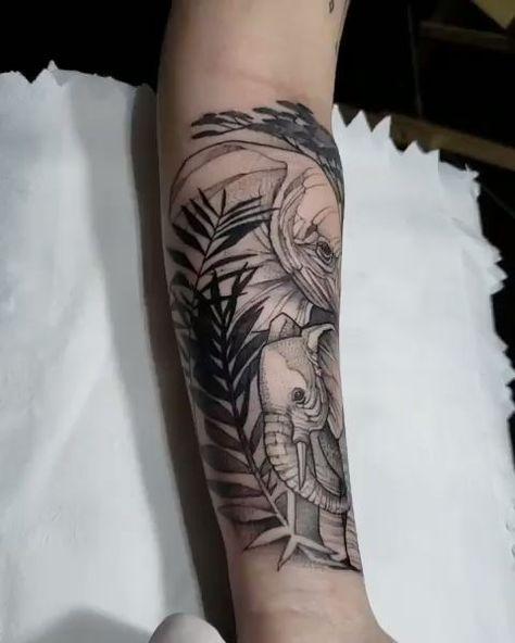 Black Elephant on the arm- Black Elephant on the arm  #tattooarm #tattooart  -#RibTattoosforWomenscripts #RibTattoosforWomenstars #RibTattoosforWomensunflower #RibTattoosforWomenwriting #tinyRibTattoosforWomen