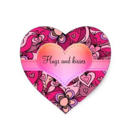 SWEETHEART Sticko Stickers Pink Patterned Hearts Heart shapes