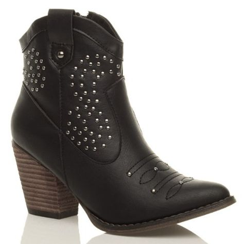 Womens ladies studded stitched cowboy pull on western ankle
