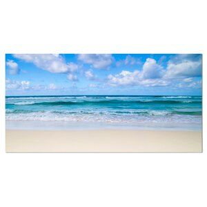East Urban Home Seashore Serene Blue Tropical Beach Graphic Art On Wrapped Canvas Wayfair In 2020 Beach Painting Ocean Painting Beach Art