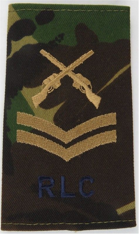 Corporal RLC + Crossed Rifles (Royal Logistic Corps) On DPM