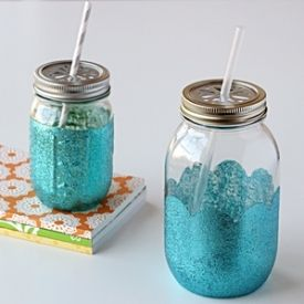 DIY glittered Mason jars...would be a darling party favor for a mermaid, beach or surfing themed party.