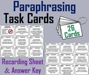 These Task Card Are A Great Way For Student To Have Fun While Improving Their Paraphrasing Skill Thi Activ Reading Comprehension Noun Cards Paraphrase Sentence Starters