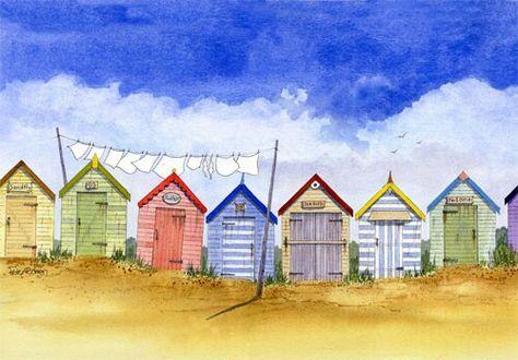 Brighton Beach Huts Peinture Maison Plage Aquarelle Scenes Plage