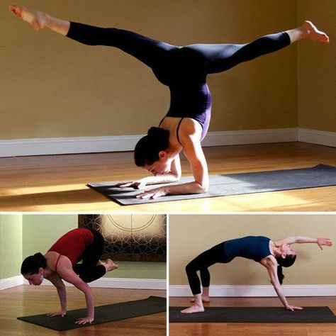 Most people think of yoga as relaxing and calm, but there are many poses that get your muscles quivering and your heart rate up, which can make for a big calorie burn. The next time you're breathing in basic poses, try these challenging variations.