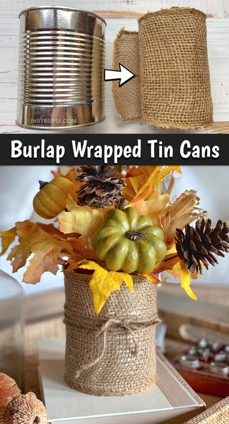 Easy DIY Tin Can Craft Idea: 6 ways to upcycle a tin can! These simple tin can projects are perfect for office organization holiday displays and vases! This cheap tin can project can be made items you already have at home. No shopping required! Apartment Decoration, Decoration Bedroom, Tin Can Crafts, Diy And Crafts, Diy Crafts Cheap, Soup Can Crafts, Easy Fall Crafts, Diy Crafts Vases, Simple Crafts